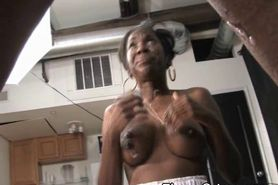 Dirty Black Ghetto Slut With Fake Rack Gets Face Fucked