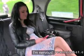 Busty amateur gets fucked and creampie in fake taxi