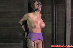 Busty bdsm bondage sub flogged roughly