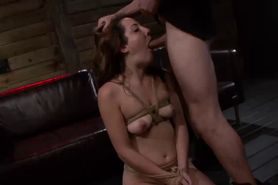 Bound slave gets mouth fucked