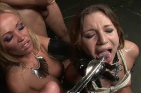 Blonde Slut Tied Up And Dripping Cum At BDSM  group act