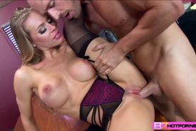 Hot Nicole Aniston breaks up a meeting and fucks the bo