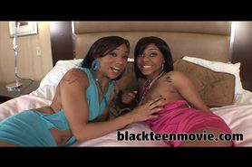 Two ebony teens fuck one lucky cock