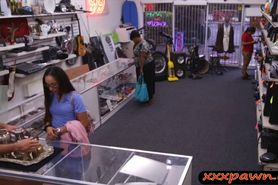 Desperate girl got fucked hard in the pawnshop for mone