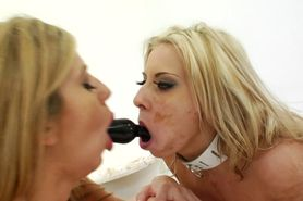 Food fetish blonde babes chocolate play