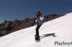 Badass girls with nice boobs try out snowboarding naked