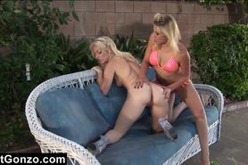 Blonde Fucking Her Slave By The Pool
