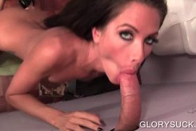 Slut with tattoos sucks cock on gloryhole and gets cunt