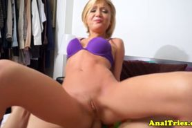 Anal first timer played by cock and toy