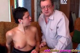 Old pervert plays with young babe