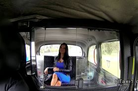British busty amateur blowjob in fake taxi in public
