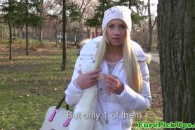 Gorgeous european chick gets convinced to strip outdoor