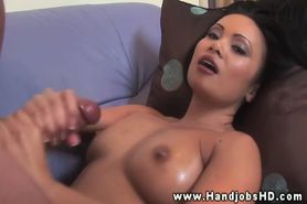 Oriental Mya Luanna jerks off dude and lets him finish