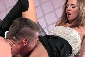 Dude licking and fucking female boss on casting