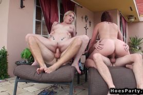 Foursome orgy fucking at outdoor party