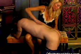Blonde wife spanks husband ass