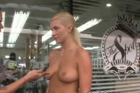 Blonde Teases With Her Fantastic Tits During Cash Stunt