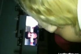 Blond giving head while dude watches TV