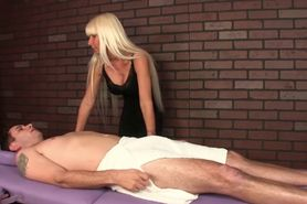 CBT femdom masseuse wanks cock to ruin client orgasm