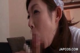 Asian slutty maid in stockings blowing her bosses dick