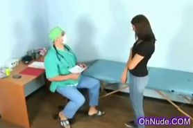 Supple young brunette at the gyno