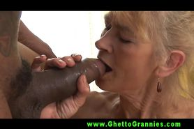 Petite granny GILF goes down on black dude