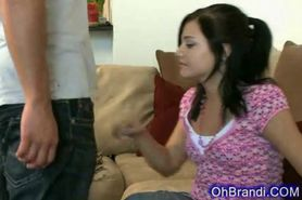Little sexy brandi sucks and hard fucked