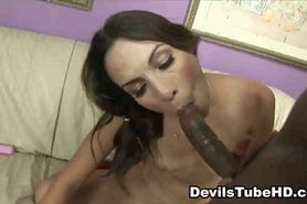 Petite brunette sucks and fucks an ebony stud