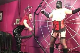 Domme Melissa whips fat slave