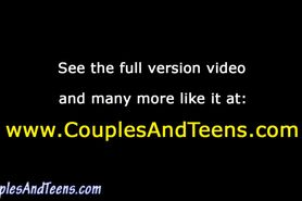 Couple go down on and fuck teen