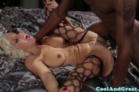 Voluptuous blonde milf gets fucked by a black dude