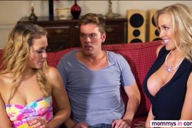 Stepmom Mia teaches threesome fucking is awesome in bed