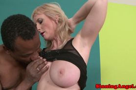 Interracial loving granny giving blowjob