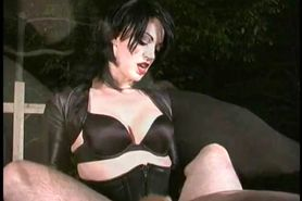 2 Femdoms strapon fuck slave outside