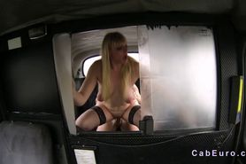 Natural busty blonde gives blowjob and bangs in fake ta