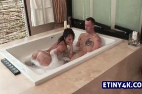 Asian big cock blowjob in hot tub
