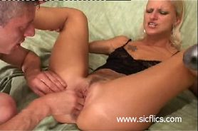 Trashy blond slut brutally fist fucked in her gaping cu