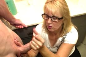 Mature cumblasted cfnm babe with glasses pov