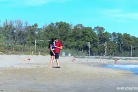 Amazing Brunette Gets Fucked Up Ass On Beach