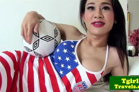 Soccer playing ladyboy Emma with braces pov blowjob