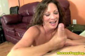 Cougar handjob lovers toying with dudes cock