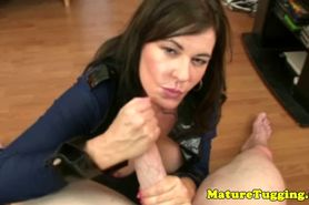 MILF jerking lover giving rub session