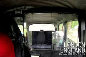 British amateur gives blowjob in fake taxi