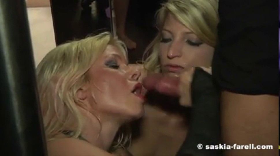 German sluts Mia De Berg and Sexy Bella gangbanged