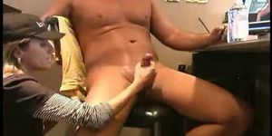 Amateur housewife give handjob
