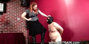 Masked slave humiliated naked