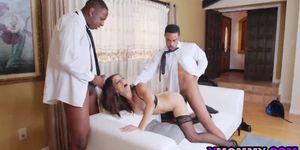 Eva Long enjoys two juicy black cocks deep in her love