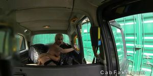 Huge tits tattooed blonde fucking in fake taxi