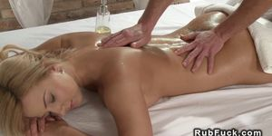 Pierced cunt blonde banged after massage