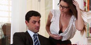 Busty office stunner seducing her boss